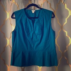 Jcrew Teal Structured Peplum Tank